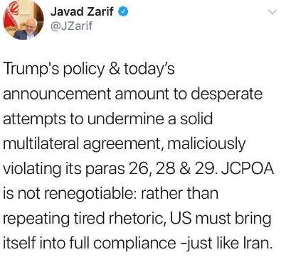 伊朗外长:美国应像伊朗一样完全遵守和履行协议