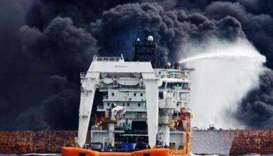 """国家海洋局:""""桑吉""""船体及附近海面仍有油污燃烧"""