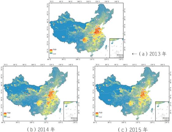 2013-2015年全国近地面PM2.5浓度卫星反演图