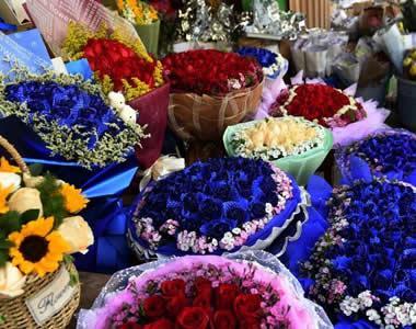 云南大批鲜花上市供应节日市场